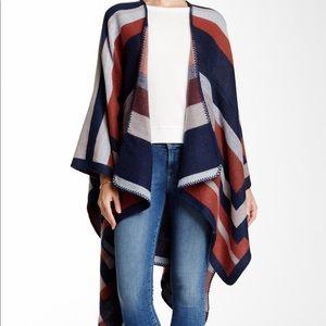 Striped oversized poncho wrap